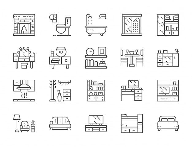 Reihe von möbeln linie icons Premium Vektoren