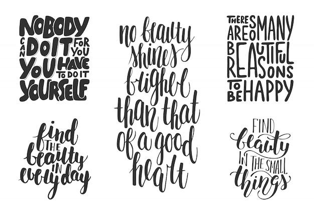 Reihe von motivierenden und inspirierenden typografie Premium Vektoren