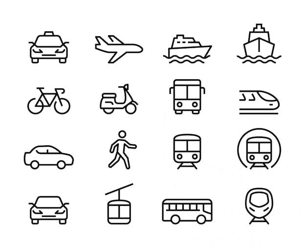 Reihe von öffentlichen verkehrsmitteln dünne linie icons Premium Vektoren