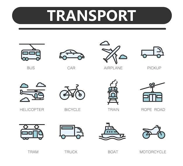 Reihe von öffentlichen verkehrsmitteln verwandte linie icons. Premium Vektoren