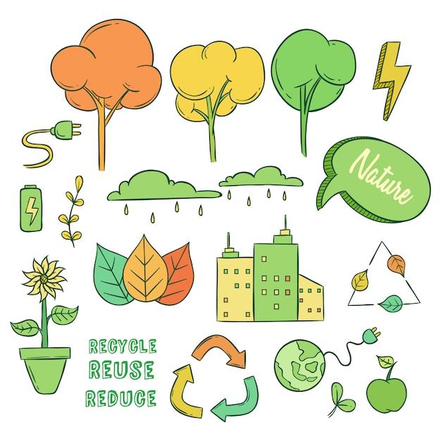 Reihe von öko-oder go green icons mit doodle-stil Premium Vektoren