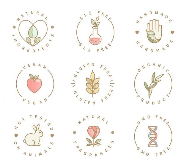 Reihe von öko-produkt-logos Premium Vektoren