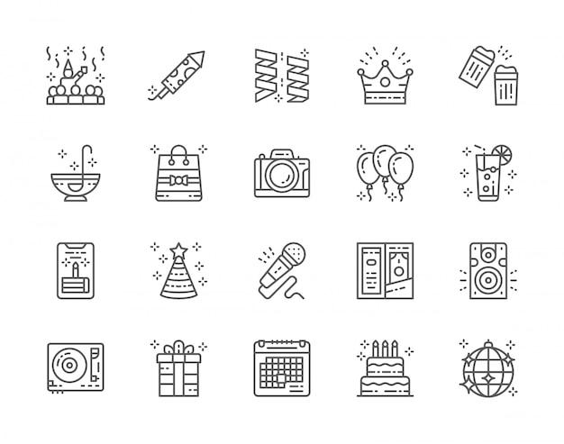 Reihe von party line icons. Premium Vektoren