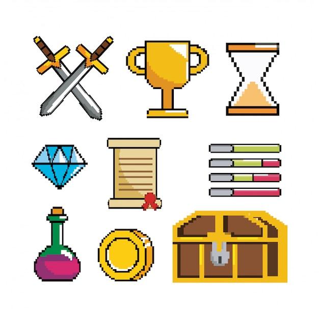 Reihe von pixeligen videospielszene und digitale konsole Premium Vektoren