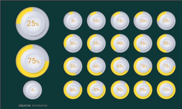 Reihe von prozent-diagrammen Premium Vektoren