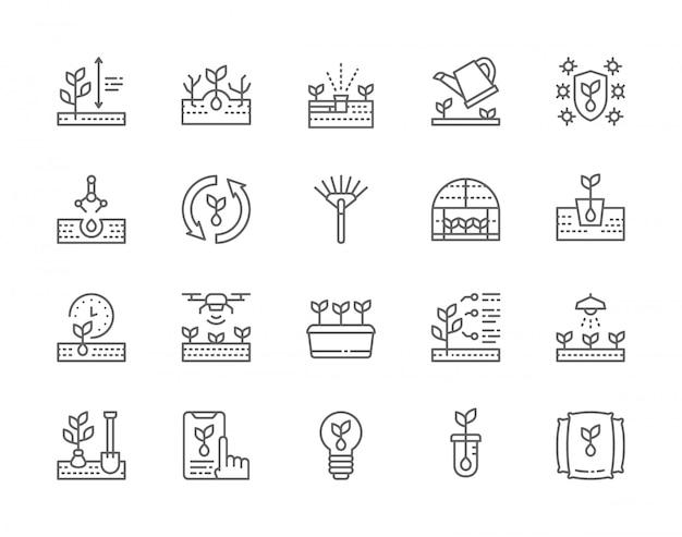 Reihe von sämling linie icons. Premium Vektoren