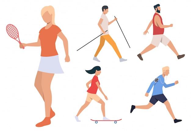 Reihe von sommeraktivitäten. männer und frauen, die tennis spielen Kostenlosen Vektoren
