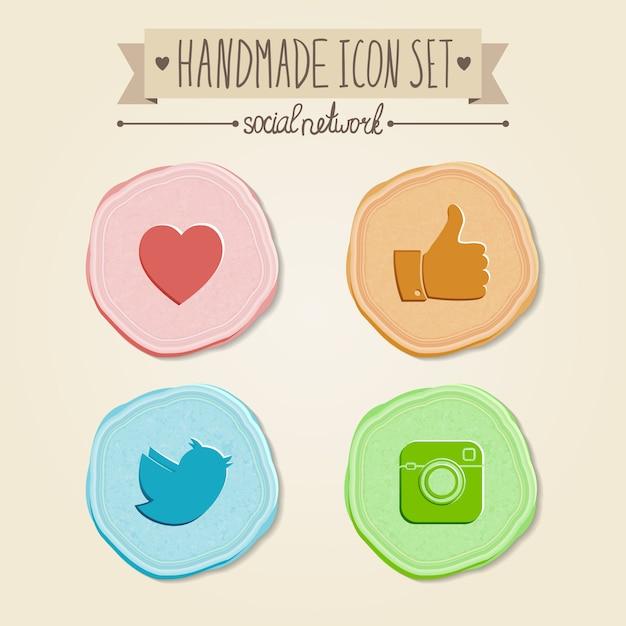 Reihe von sozialen netzwerk-icons im vintage-stil. Premium Vektoren