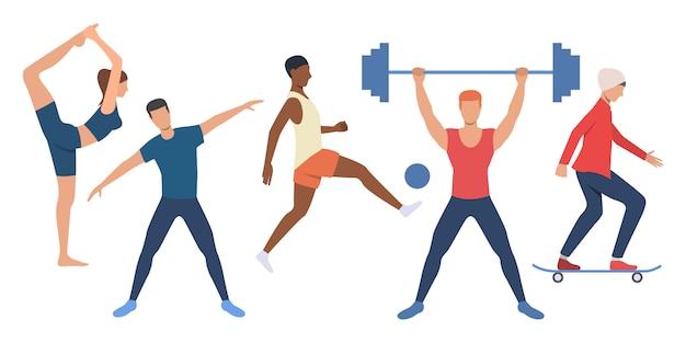 Reihe von sportlichen menschen Kostenlosen Vektoren