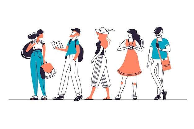 Reihe von städtischen touristischen menschen charaktere, männer und frauen in verschiedenen posen. Premium Vektoren