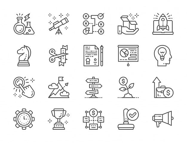 Reihe von startlinie icons. megaphon, trophäe, strategie, geldbaum und mehr. Premium Vektoren