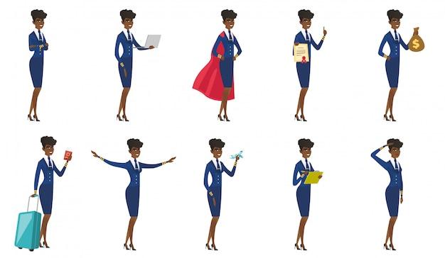 Reihe von stewardess zeichen. Premium Vektoren