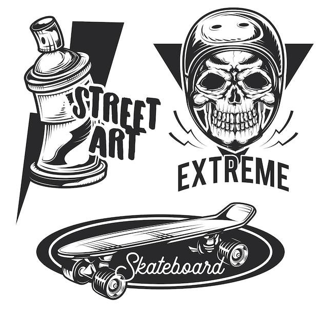 Reihe von straßenaktivitäten embleme, etiketten, abzeichen, logos. Kostenlosen Vektoren
