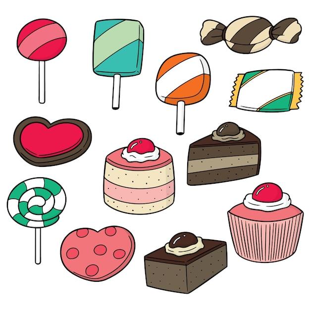 Reihe von süßigkeiten und süßigkeiten Premium Vektoren