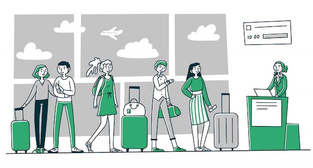 Reihe von touristen am flughafen check-in-schalter Premium Vektoren