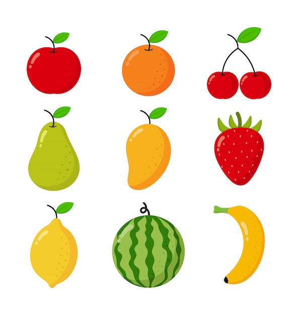 Reihe von tropischen früchten cartoon-stil. isoliert auf weiß. Premium Vektoren