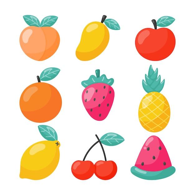 Reihe von tropischen früchten cartoon-stil. isoliert. vektor-illustration. Premium Vektoren