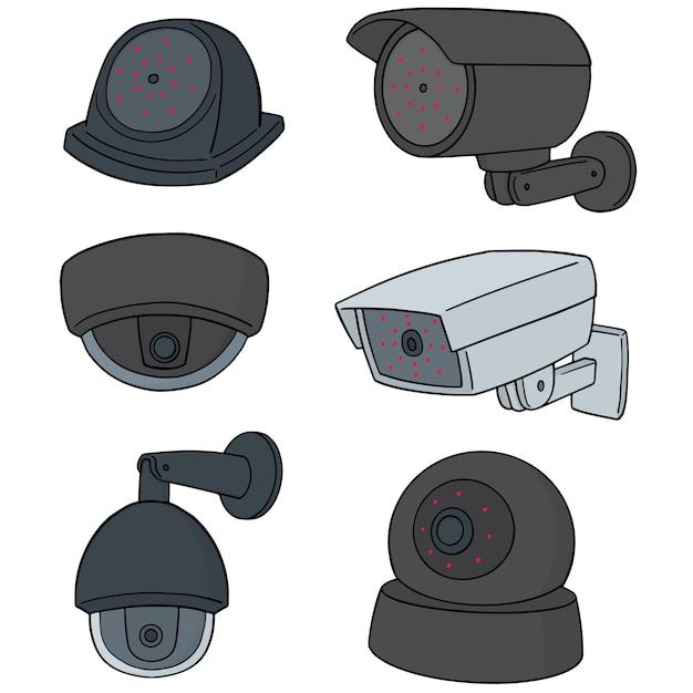 Reihe von überwachungskameras Premium Vektoren
