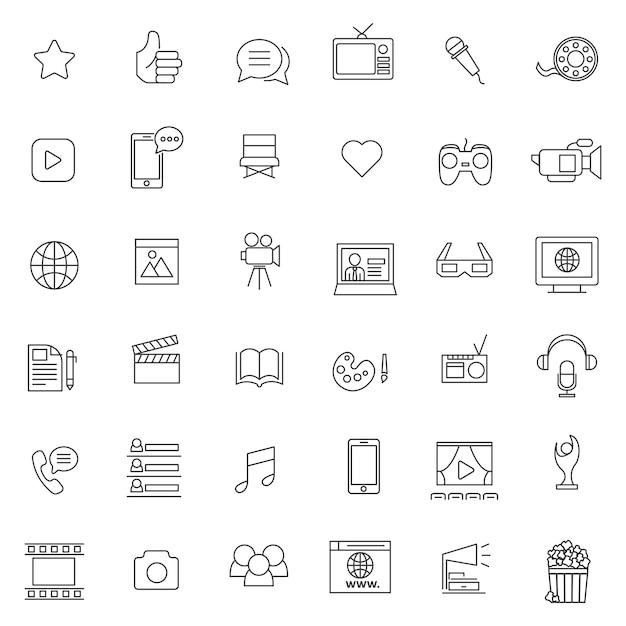 Reihe von unterhaltung media-symbol Premium Vektoren