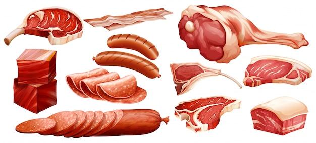 Reihe von verschiedenen fleischsorten Kostenlosen Vektoren