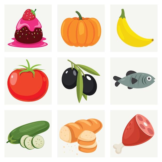 Reihe von verschiedenen frischen lebensmitteln Premium Vektoren