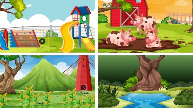 Reihe von verschiedenen landschaften Kostenlosen Vektoren