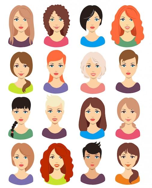 Reihe Von Verschiedenen Mädchen Frisur Für Mittlere Und