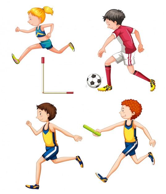 Reihe von verschiedenen sportlichen menschen Kostenlosen Vektoren