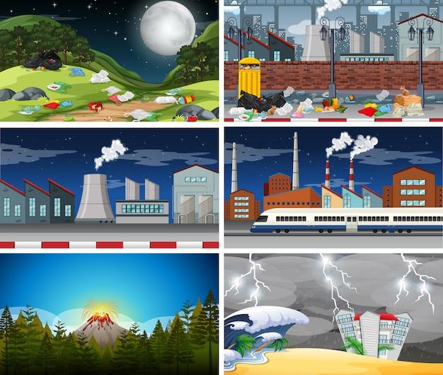 Reihe von verschmutzten szenen Kostenlosen Vektoren