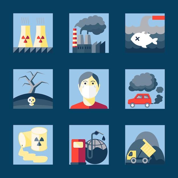 Reihe von verschmutzung icons Kostenlosen Vektoren