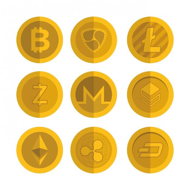 Reihe von virtuellen münzen icons Premium Vektoren