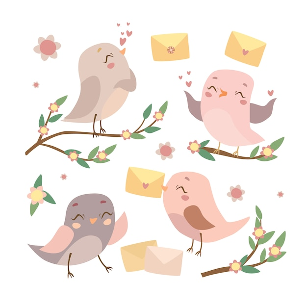 Reihe von vögeln auf den zweigen Kostenlosen Vektoren