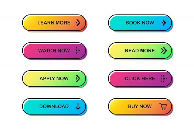 Reihe von website-schaltflächen. Premium Vektoren