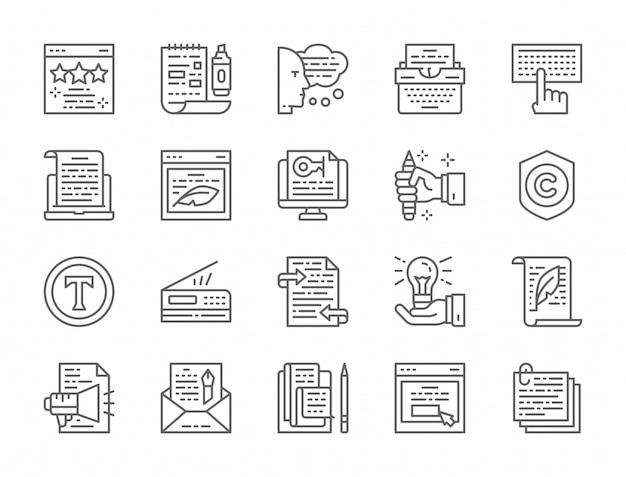 Reihe von werbetexten linie icons Premium Vektoren