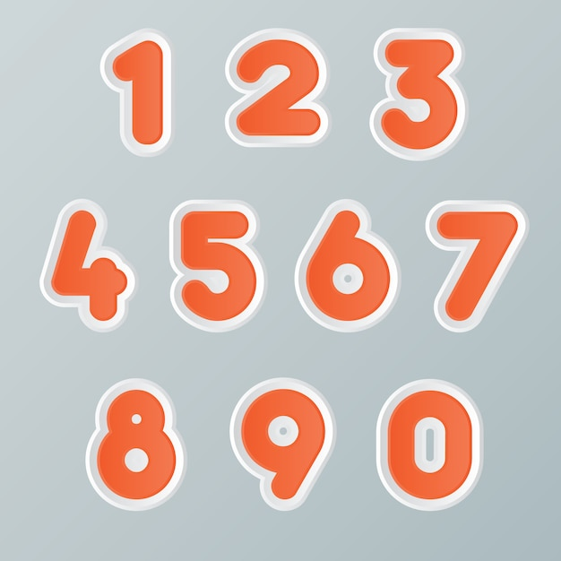 Reihe von zahlen trendige typografie Premium Vektoren
