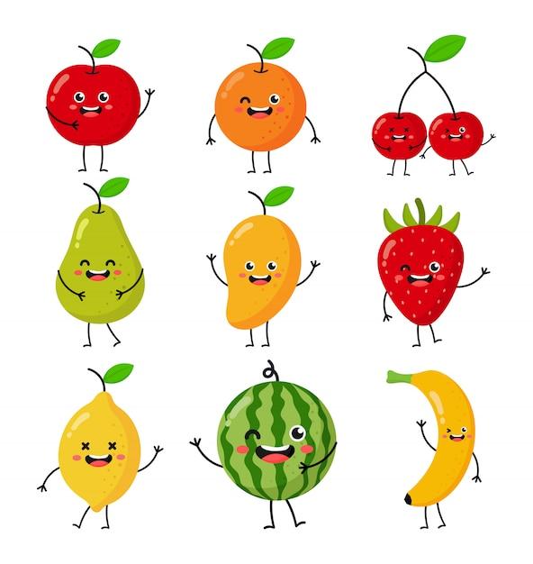 Reihe von zeichentrickfiguren aus tropischen früchten kawaii-stil, isoliert auf weiss. Premium Vektoren