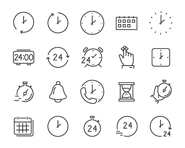 Reihe von zeit-icons, kalender, uhr, erinnerung, stunde, datum Premium Vektoren
