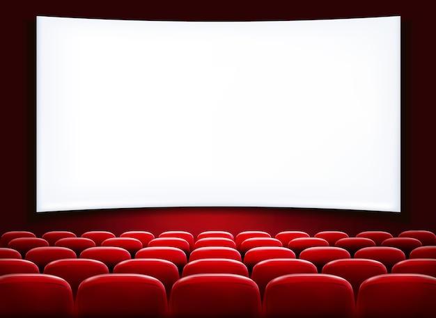 Reihen von roten kino- oder theatersitzen vor weißem leerem bildschirm. Premium Vektoren