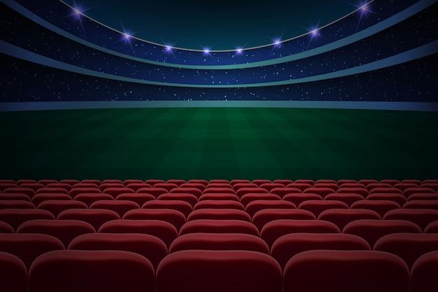 Reihen von roten sitzen auf fußballstadion. fußball hintergrund Premium Vektoren