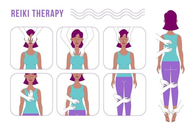 Reiki-therapie-illustrationskonzept Kostenlosen Vektoren