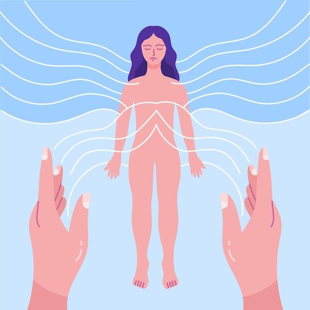 Reiki-therapie mit frauenenergie Kostenlosen Vektoren