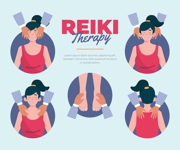 Reiki-therapie mit massagen Kostenlosen Vektoren