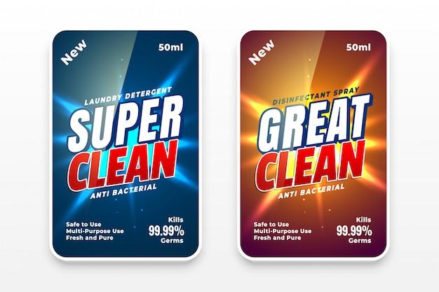 Reinigeretiketten für wasch- oder desinfektionsmittel Kostenlosen Vektoren