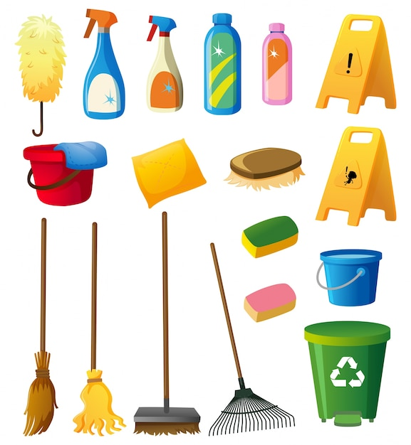 Reinigung ausrüstungen auf weißem hintergrund Kostenlosen Vektoren