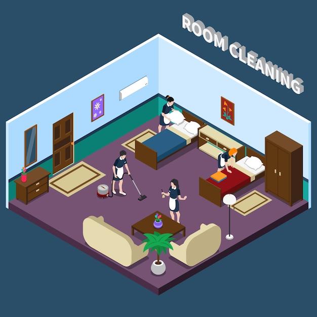 Reinigung des hotelzimmers isometrisches design Kostenlosen Vektoren