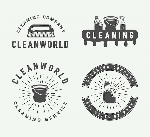 Reinigung von logo-abzeichen Premium Vektoren