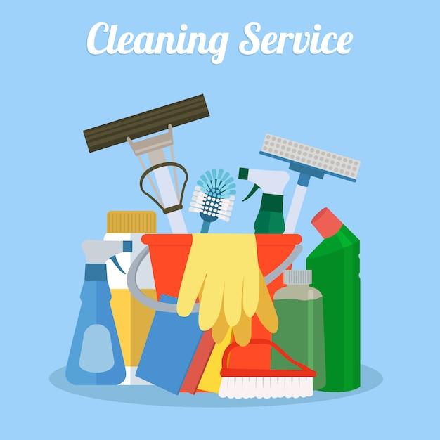 Reinigungs-set design Kostenlosen Vektoren