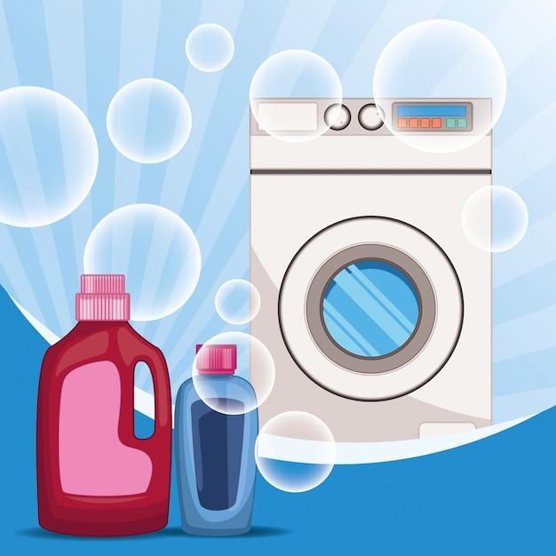 Reinigungs- und reinigungszubehör Premium Vektoren