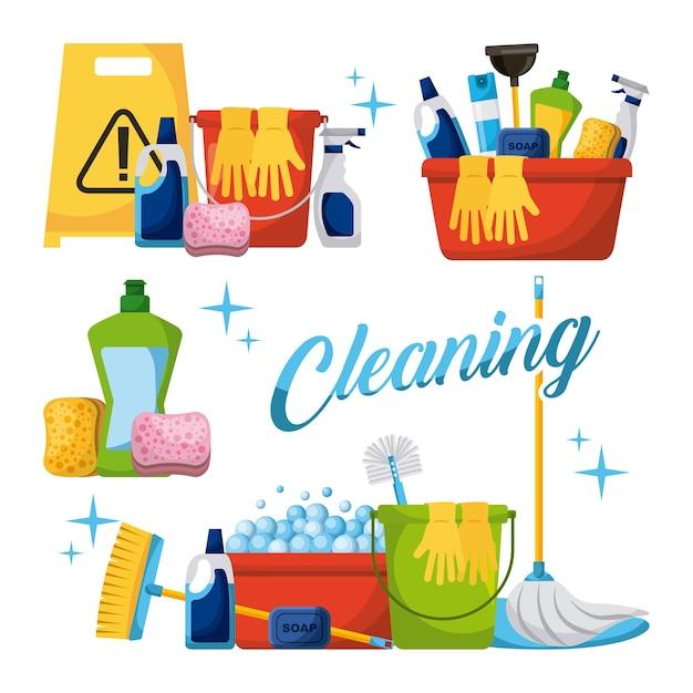 Reinigungselemente eingestellt Premium Vektoren