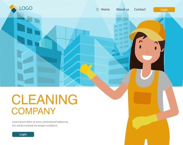 Reinigungsfirma-landing page, frau in der uniform. Premium Vektoren
